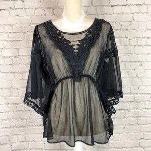 Free People Daydreamer Black Embroidered Blouse